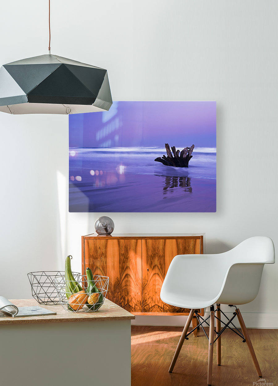 Waves break on the beach at dawn; Winchester Bay, Oregon, United States of America  HD Metal print with Floating Frame on Back