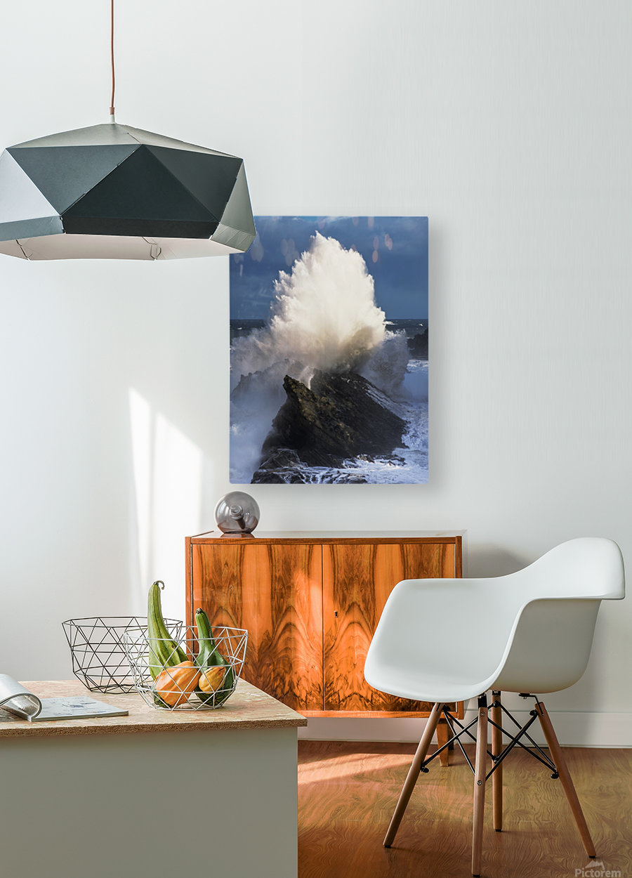 Surf erupts on the rocks at Shore Acres State Park; Charleston, Oregon, United States of America  HD Metal print with Floating Frame on Back