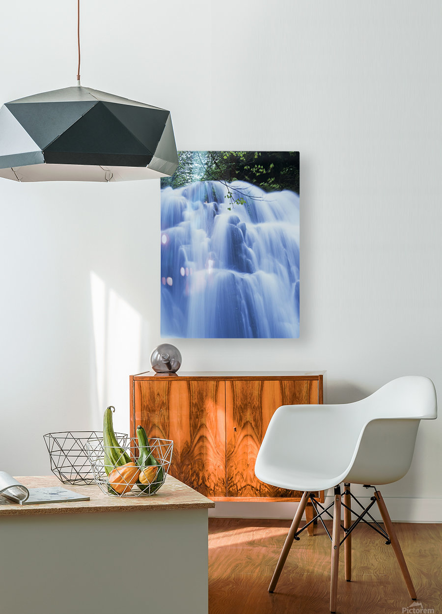 Sweet Creek waterfalls along the hiking trail; Mapleton, Oregon, United States of America  HD Metal print with Floating Frame on Back
