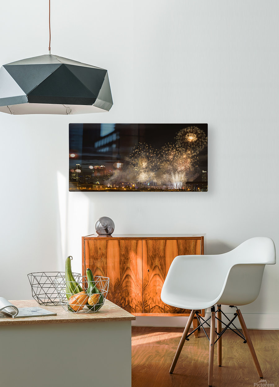 Fireworks in front of modern city skyline; Calgary, Alberta, Canada  HD Metal print with Floating Frame on Back
