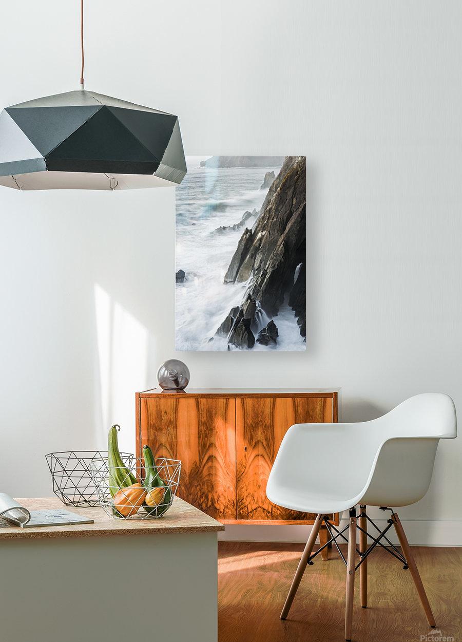 Surf breaks on the rocks; Manzanita, Oregon, United States of America  HD Metal print with Floating Frame on Back