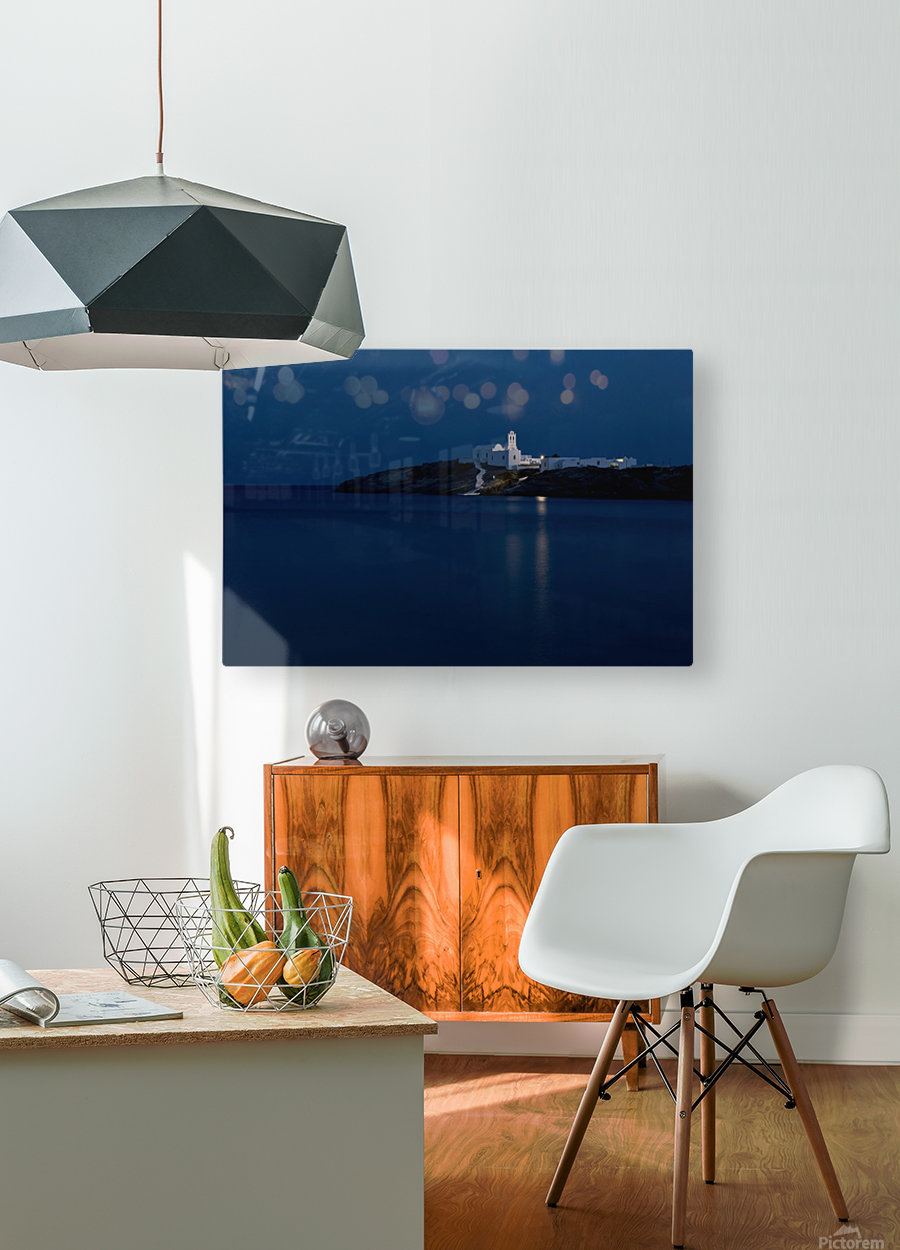 The Chrysopiyi Monsastery in Southeastern Sifnos at dusk; Sifnos, Cyclades, Greek Islands, Greece  HD Metal print with Floating Frame on Back