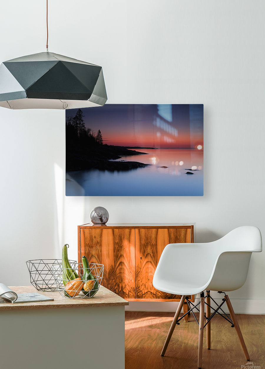 Dawn over the North Shore of Lake Superior, near Duluth; Minnesota, United States of America  HD Metal print with Floating Frame on Back