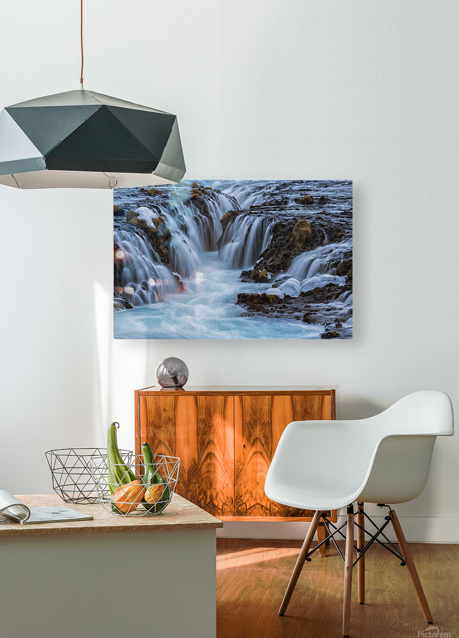 Turquoise water flowing over rocks into a river; Bruarfoss, Iceland  HD Metal print with Floating Frame on Back