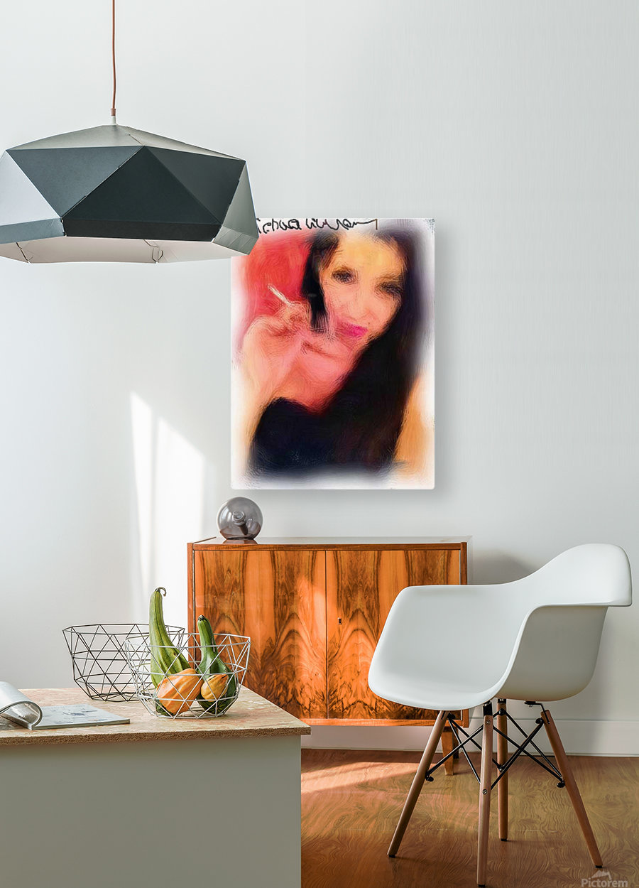Enjoying a Cigarette  HD Metal print with Floating Frame on Back