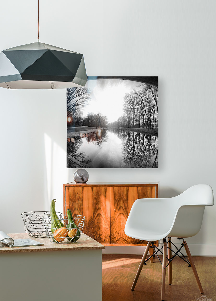 The Canal, Black and White  HD Metal print with Floating Frame on Back