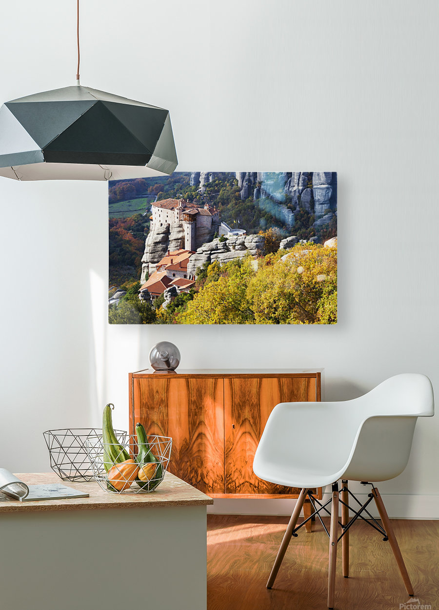 Monastery on a cliff; Meteora, Greece  HD Metal print with Floating Frame on Back