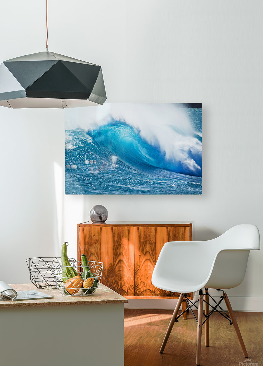 Beautiful Blue Ocean Wave  HD Metal print with Floating Frame on Back