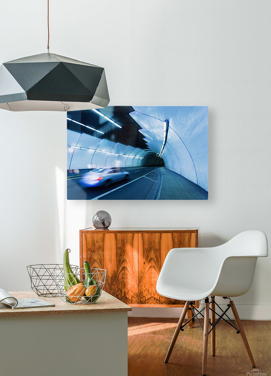 Urban Tunnel, Car moving with Motion Blur  HD Metal print with Floating Frame on Back