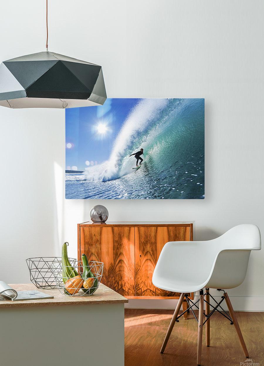 Surfer On Blue Ocean Wave  HD Metal print with Floating Frame on Back