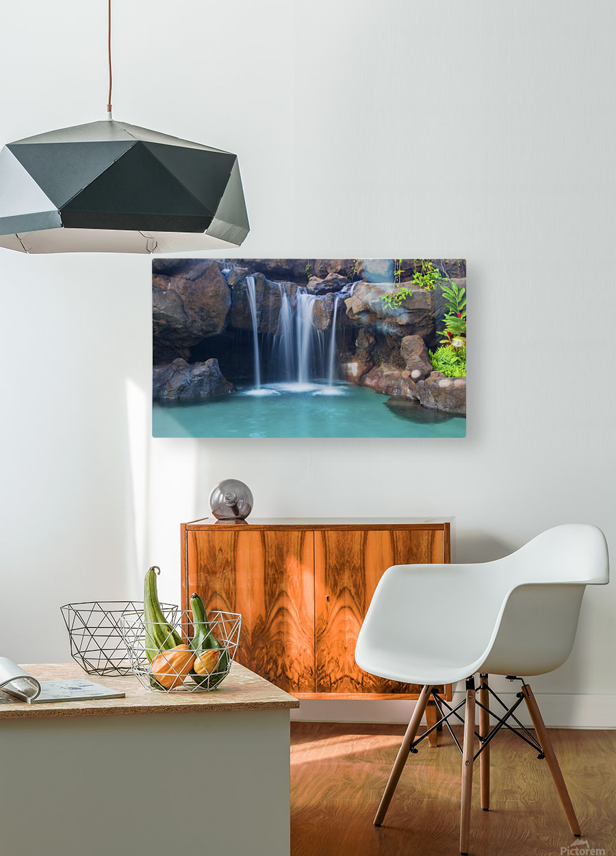 Waterfall into Resort Pool  HD Metal print with Floating Frame on Back