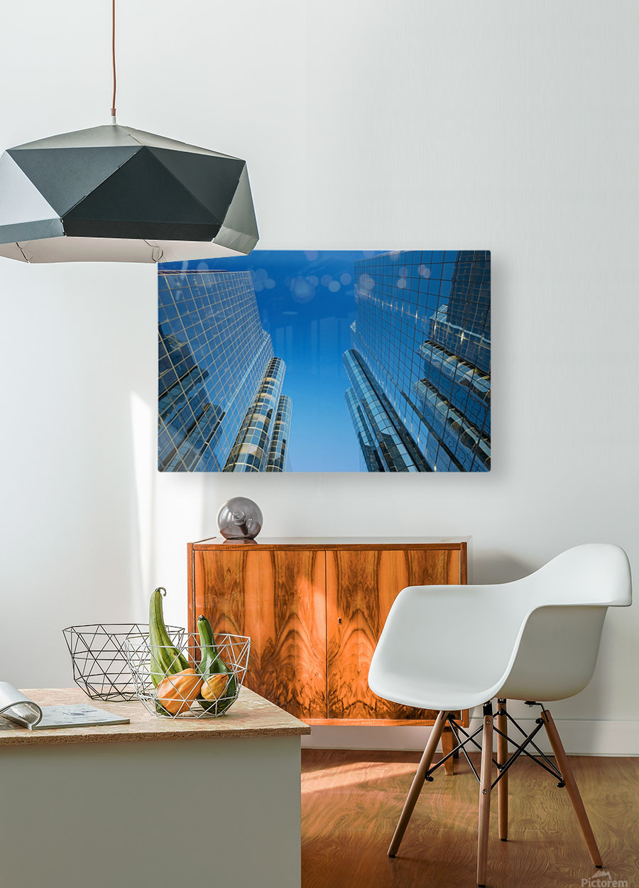 Sky Scrapers, Urban Buildings and Blue Sky  HD Metal print with Floating Frame on Back