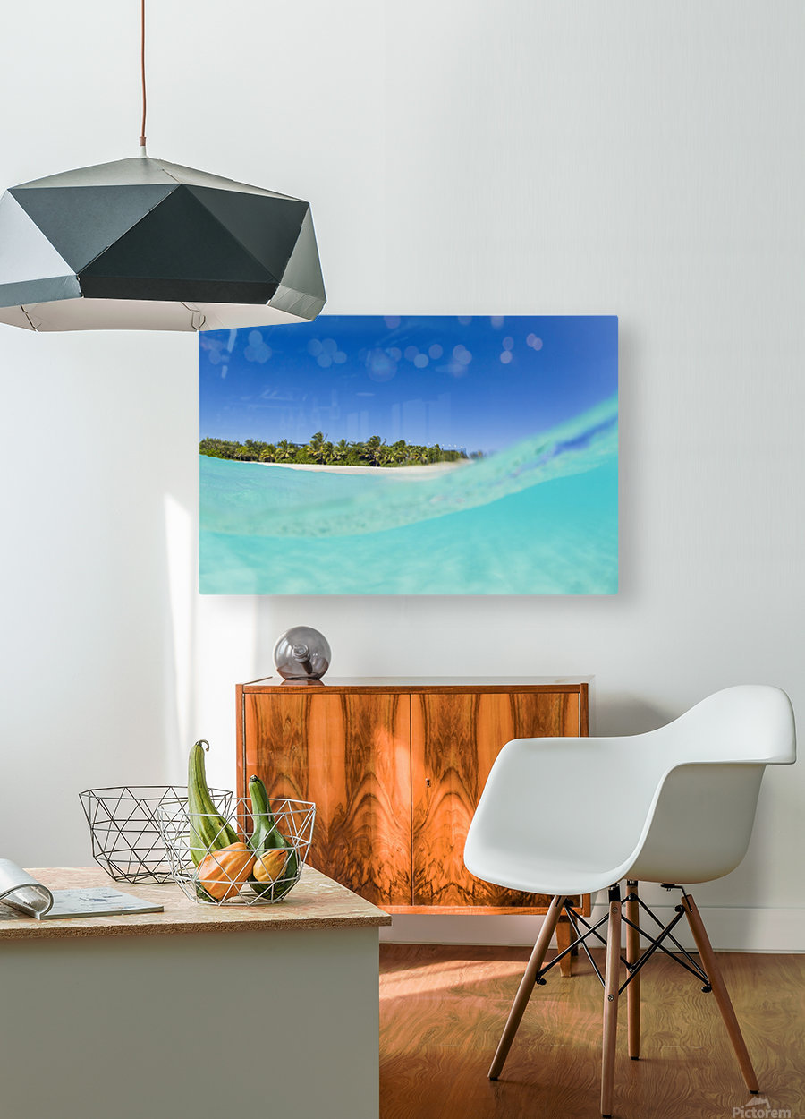 Tropical Island, Blue Sky and Beautiful Ocean  HD Metal print with Floating Frame on Back