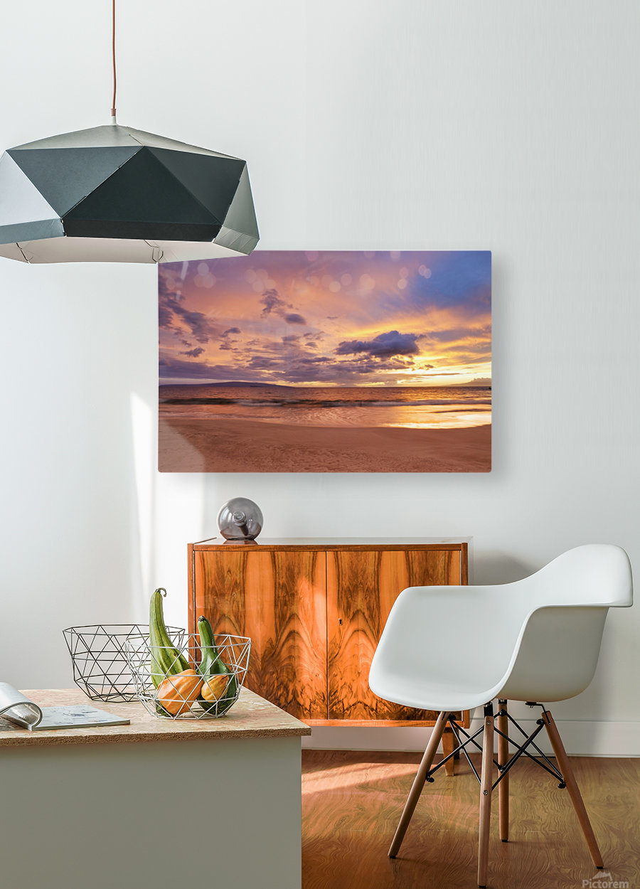 Sunset on Hawaii Beach  HD Metal print with Floating Frame on Back