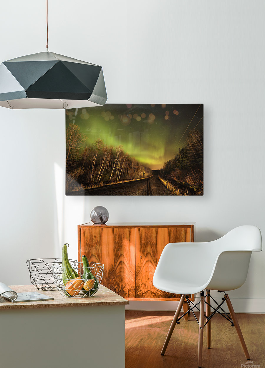 Aurora borealis over road; Thunder Bay, Ontario, Canada  HD Metal print with Floating Frame on Back