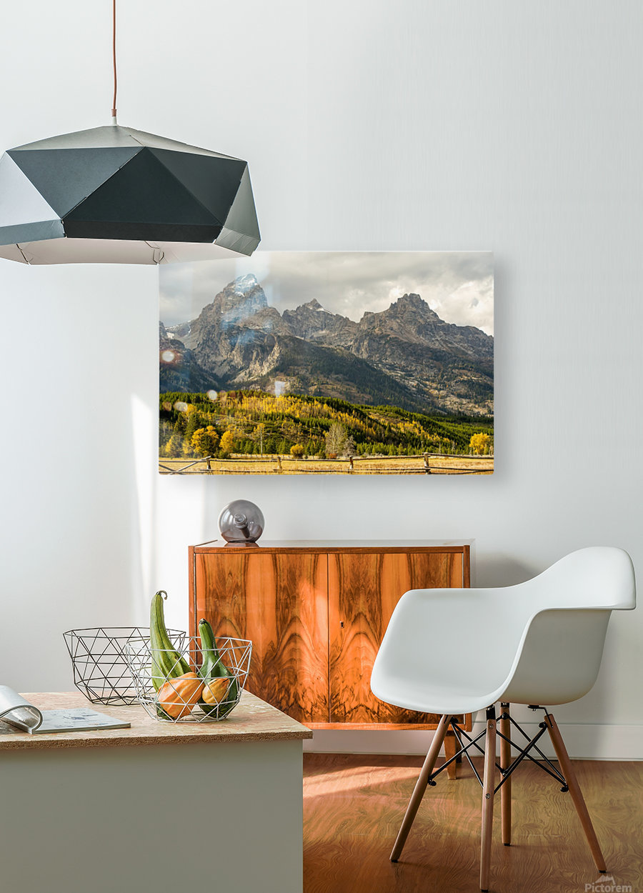 Grand Teton range in autumn, Grand Teton National Park; Wyoming, United States of America  HD Metal print with Floating Frame on Back
