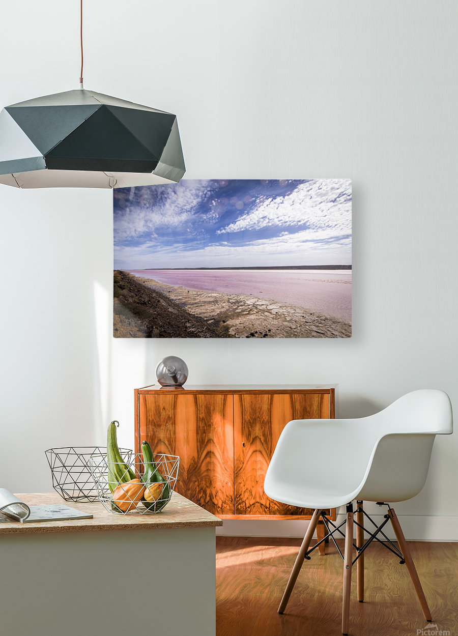 Pink Lake  HD Metal print with Floating Frame on Back