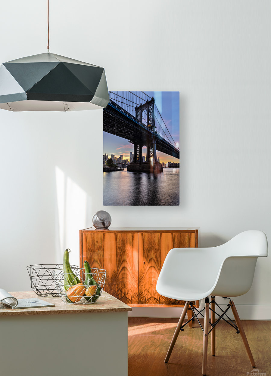 Manhattan Bridge and NYC skyline at sunset, Brooklyn Bridge Park; Brooklyn, New York, United States of America  HD Metal print with Floating Frame on Back