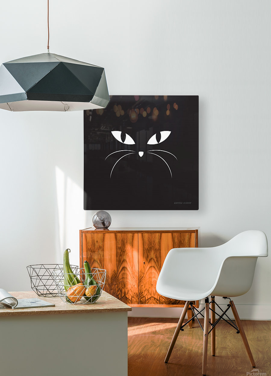 BLACK CAT  HD Metal print with Floating Frame on Back