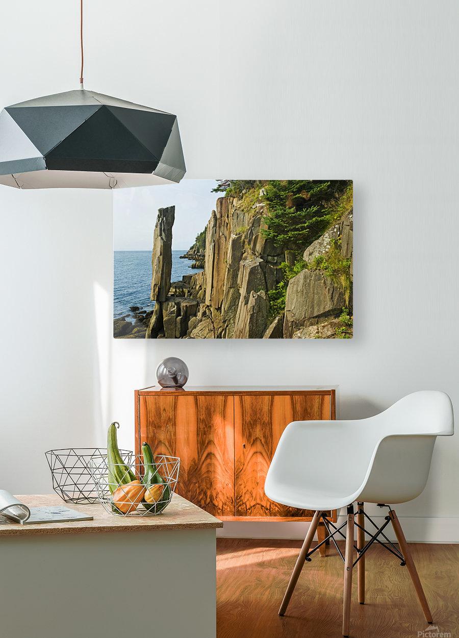Balancing rock, basalt rock cliffs, Bay of Fundy; Long Island, Nova Scotia, Canada  HD Metal print with Floating Frame on Back