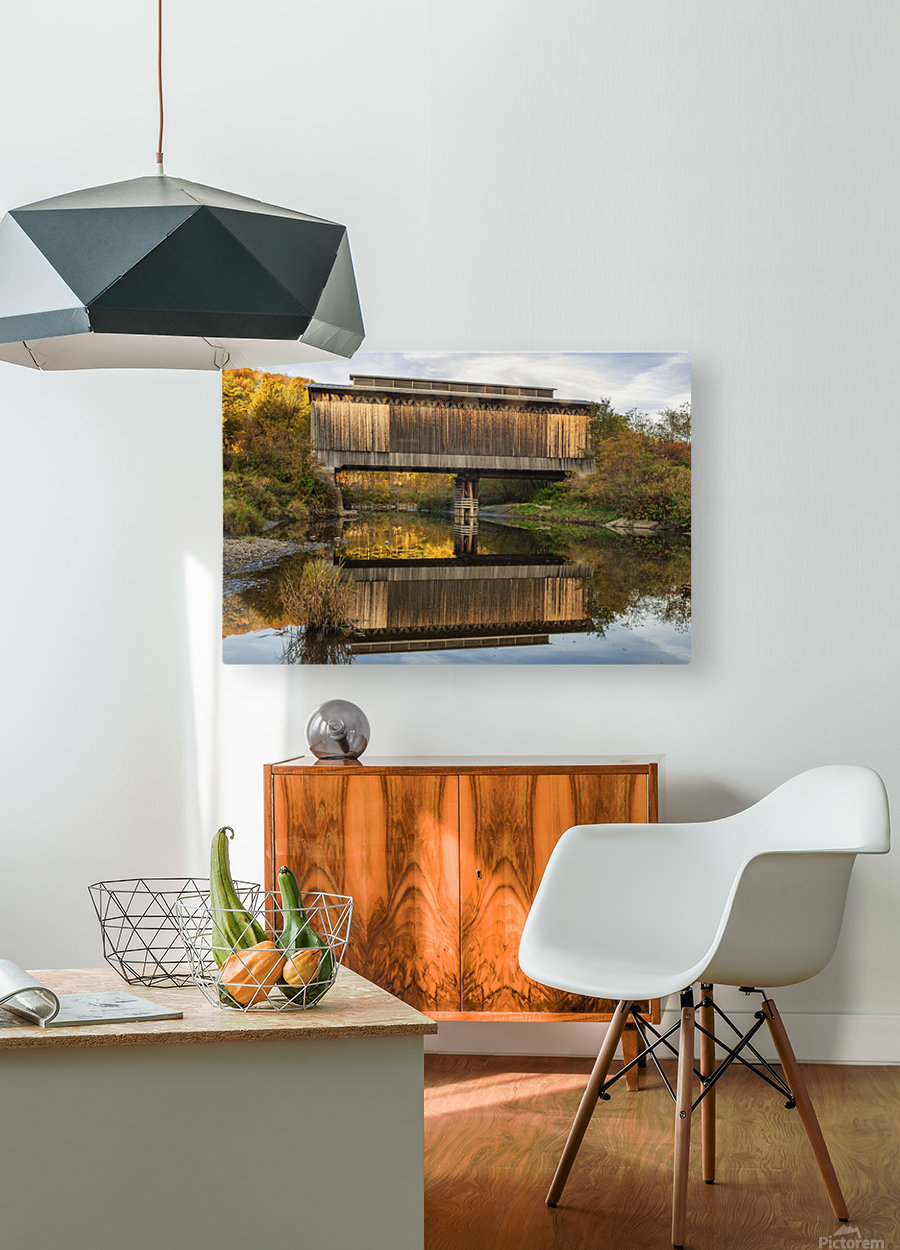 Fisher covered railroad bridge over Lamoille River in autumn; Wolcott, Vermont, United States of America  HD Metal print with Floating Frame on Back