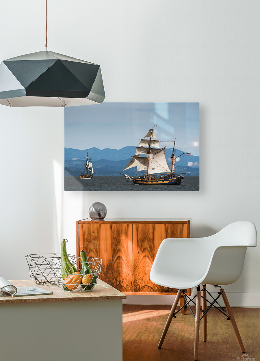 Tall ships sail on the Columbia River near Astoria; Oregon, United States of America  HD Metal print with Floating Frame on Back