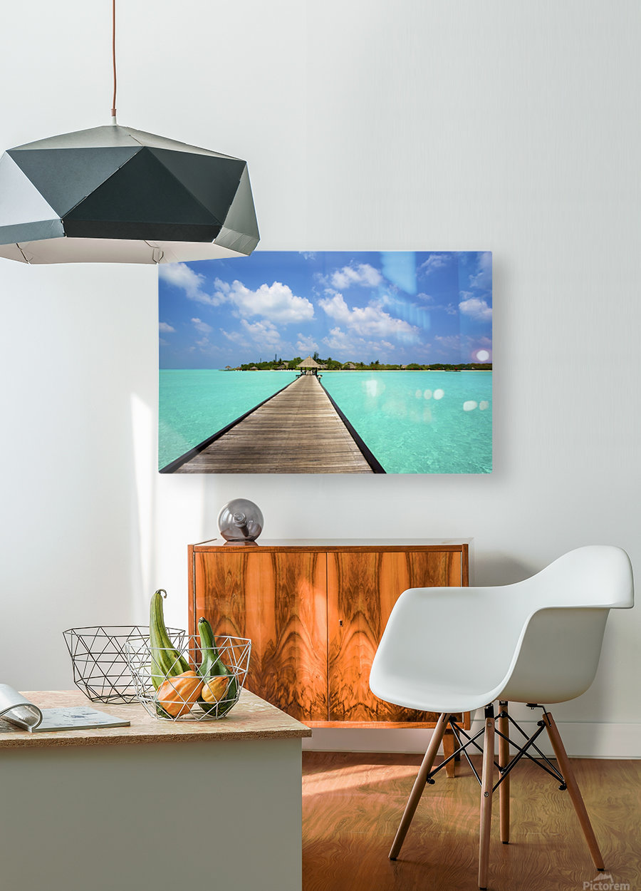 Jetty with cabana over crystal clear turquoise sea, Maldives  HD Metal print with Floating Frame on Back