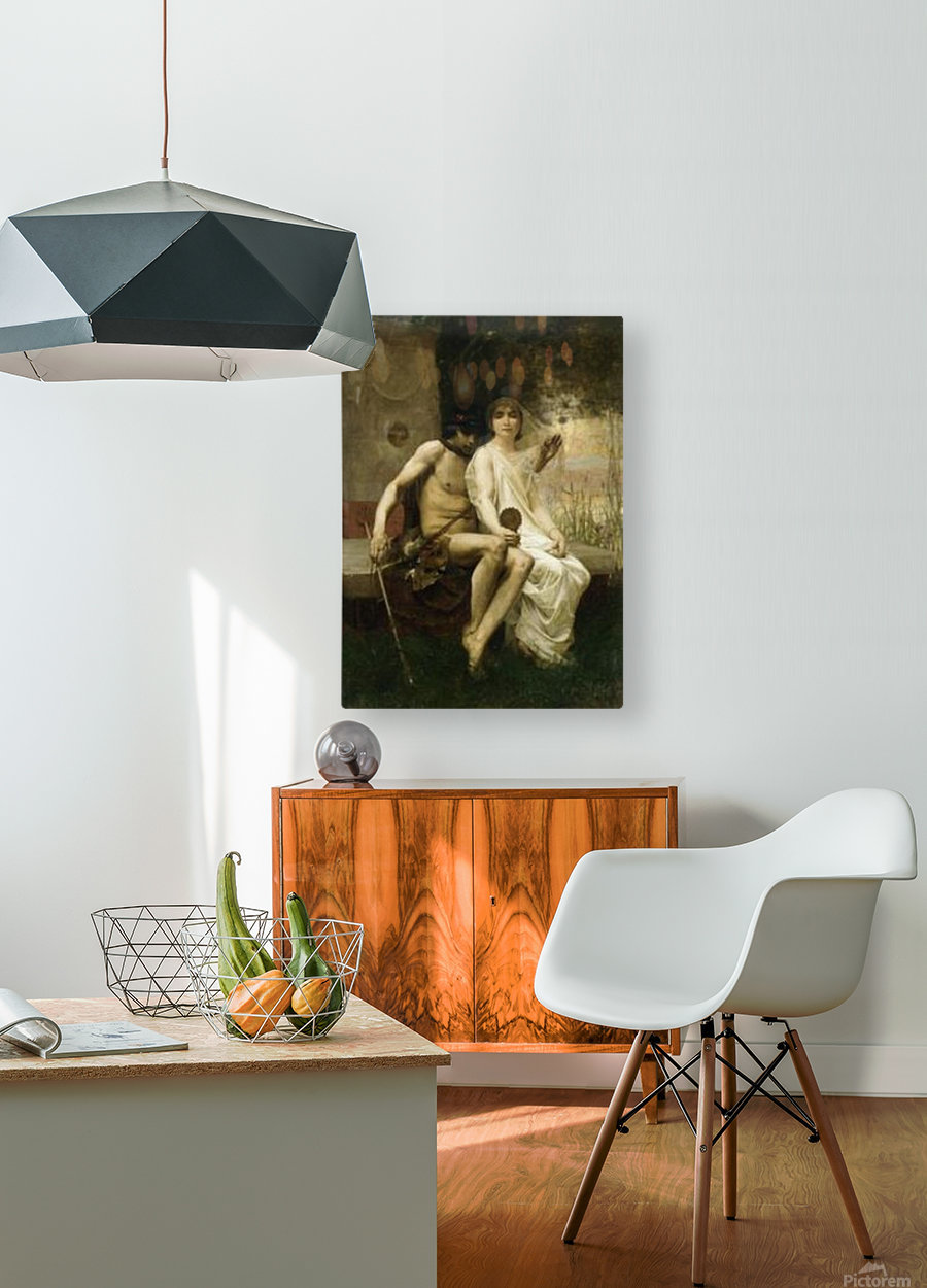 Eros and a young couple  HD Metal print with Floating Frame on Back