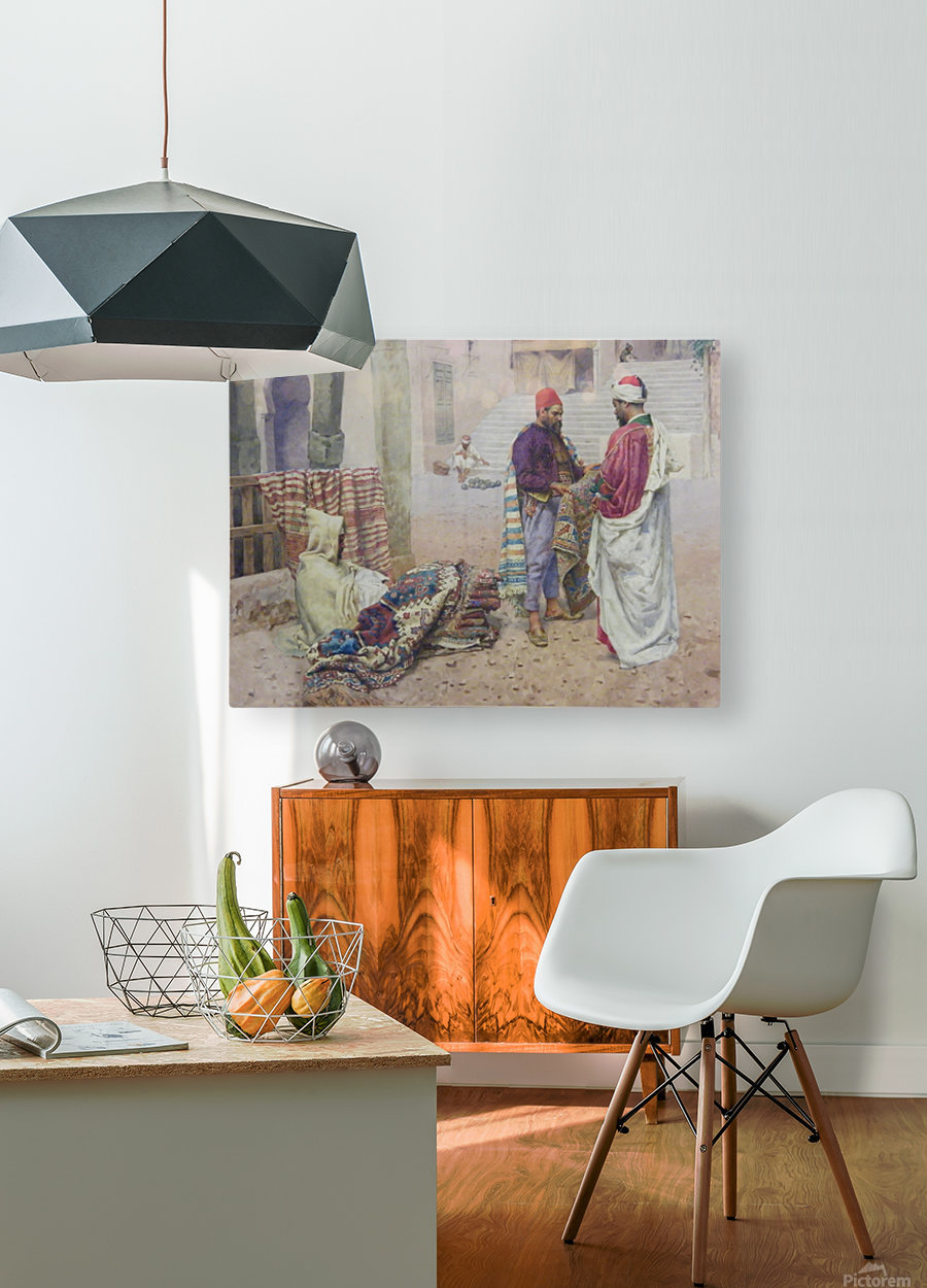 Selling carpets in the market  HD Metal print with Floating Frame on Back