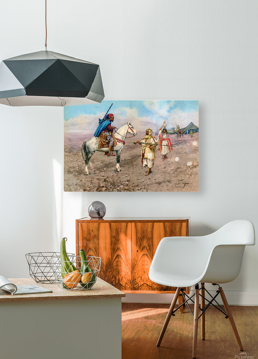 A desert camp  HD Metal print with Floating Frame on Back