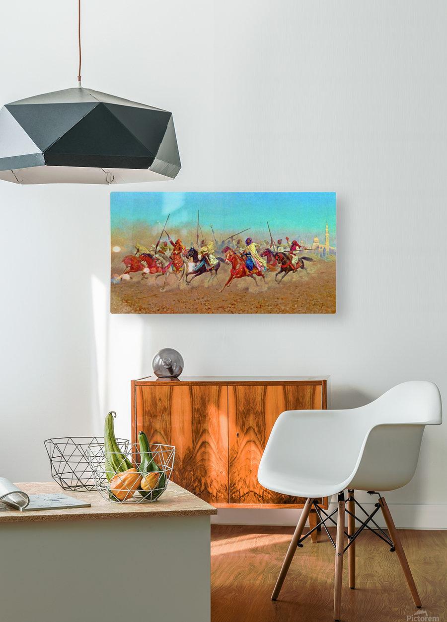 Charging Horsemen  HD Metal print with Floating Frame on Back