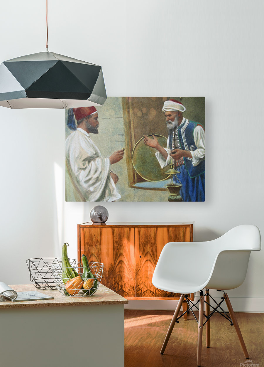 Two arab men chatting  HD Metal print with Floating Frame on Back