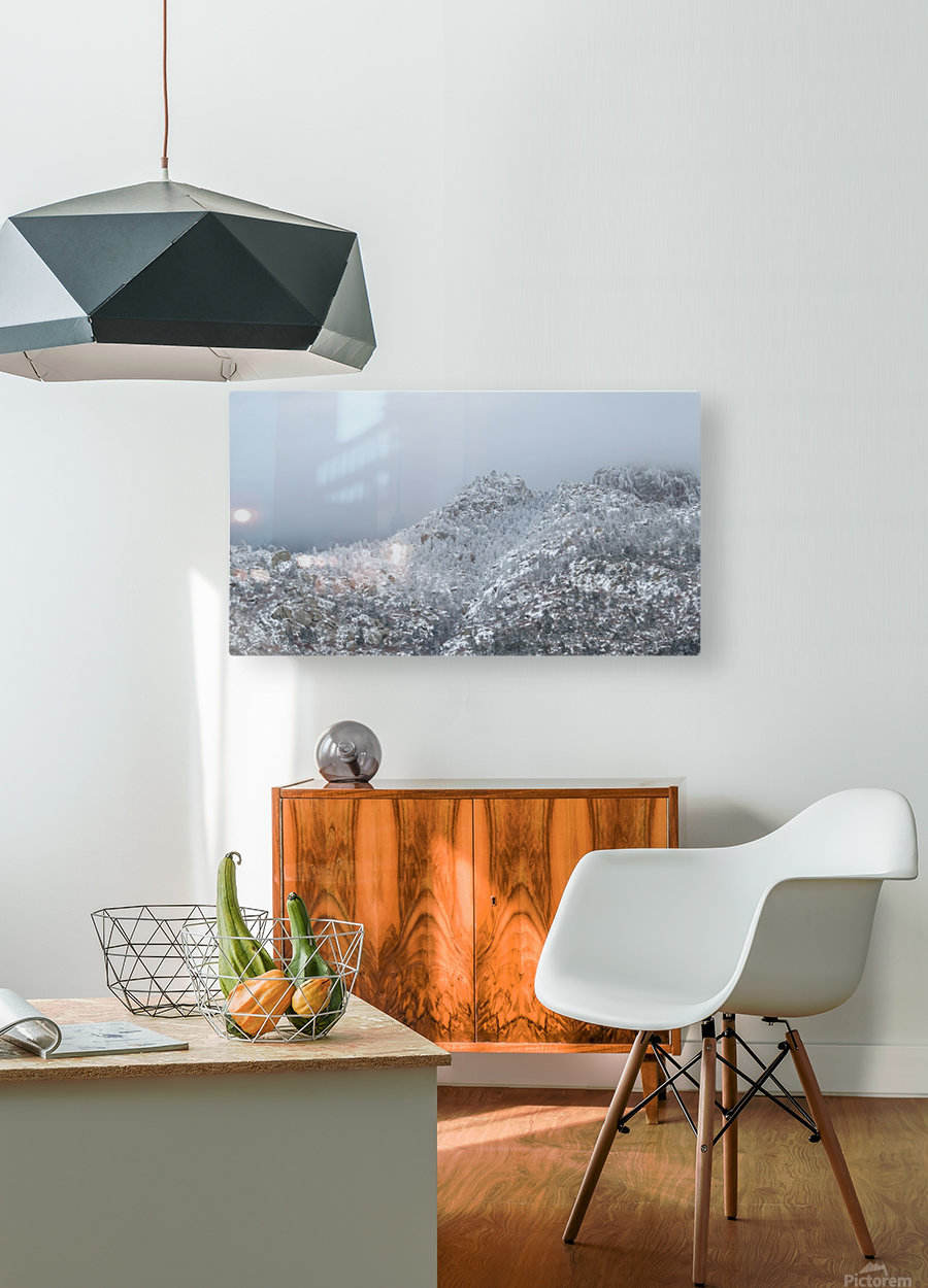 Sandia Mountains in Snow 1VP  HD Metal print with Floating Frame on Back