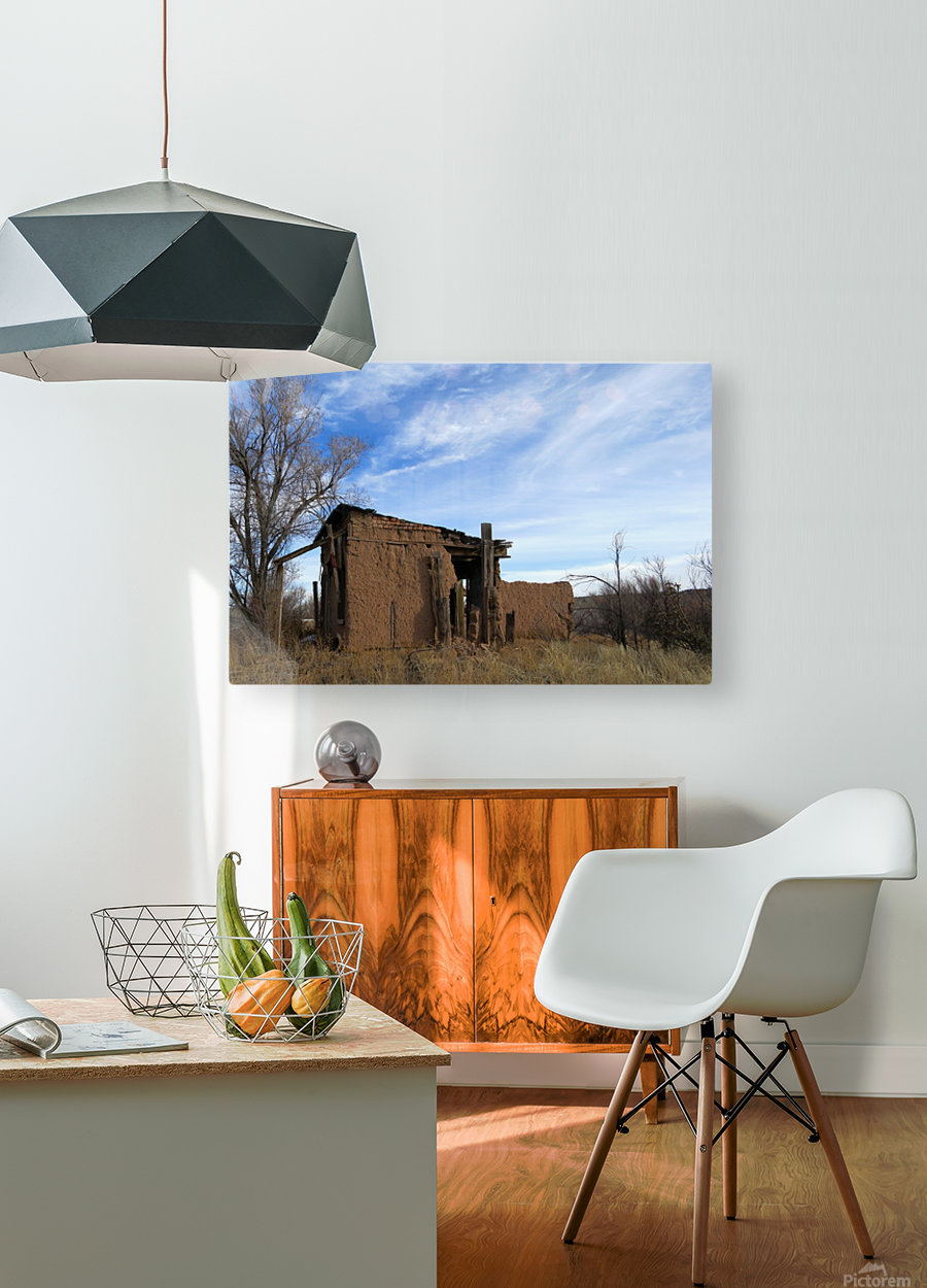 Turquoise Trail - Ruins in Golden 2VP  HD Metal print with Floating Frame on Back