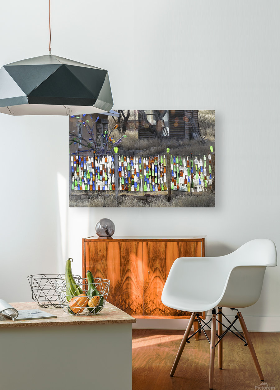 Turquoise Trail - Glass bottles in Golden 2VP  HD Metal print with Floating Frame on Back