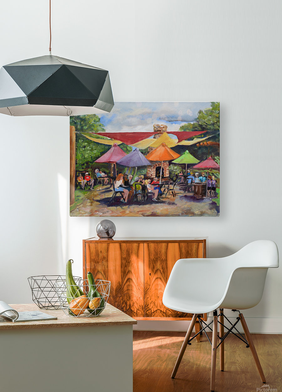 Under The Umbrellas At The Cartecay Vineyard - Crush Festival   HD Metal print with Floating Frame on Back