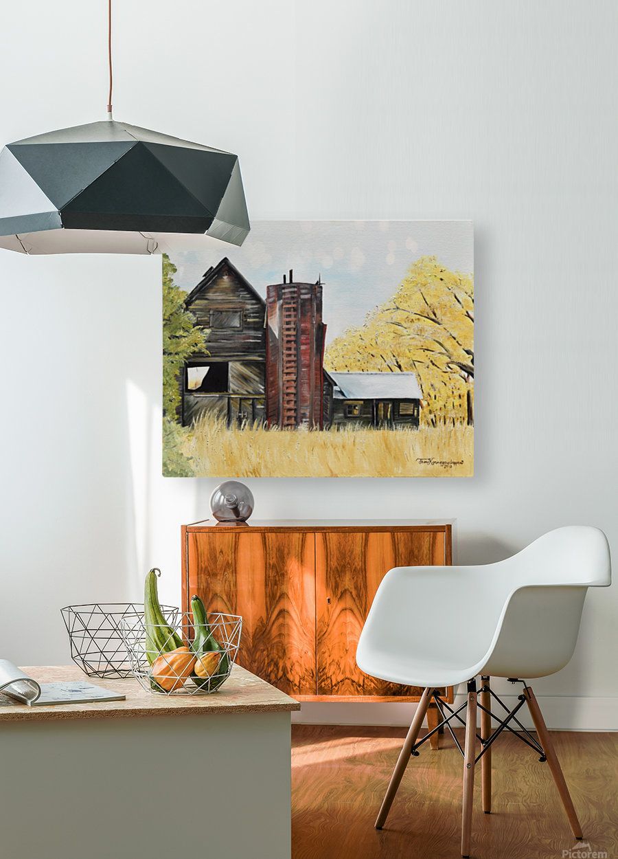 Golden Aged Barn -Washington - Red Silo   HD Metal print with Floating Frame on Back