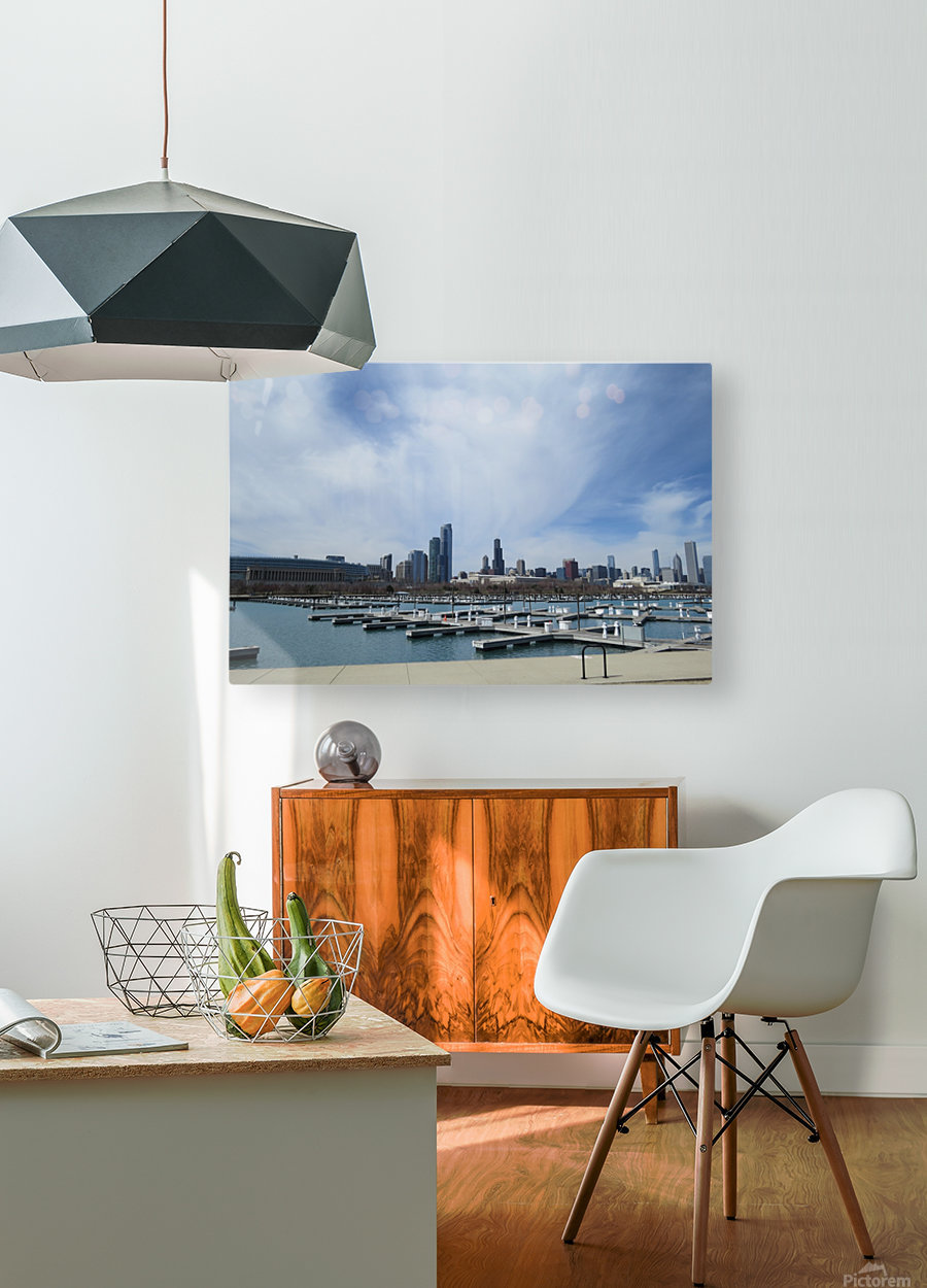 View of Burnham Harbor from Northerly Island  VP4  HD Metal print with Floating Frame on Back