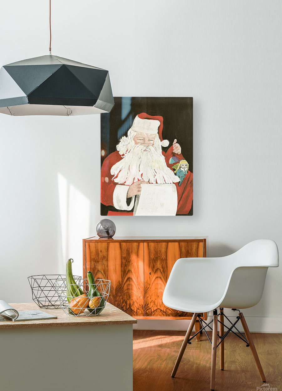 Santa making his list  HD Metal print with Floating Frame on Back