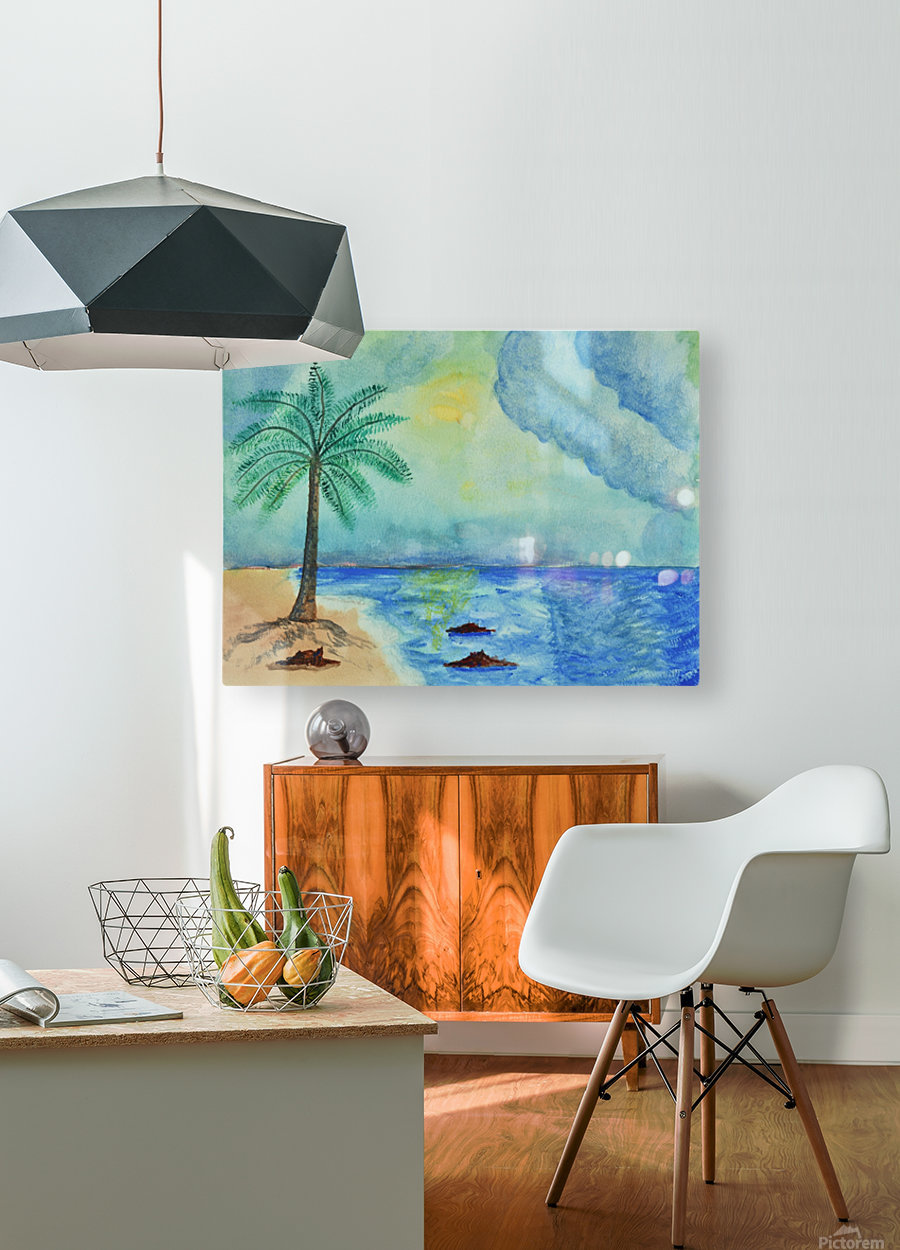 Aqua Sky Ocean Scene  HD Metal print with Floating Frame on Back