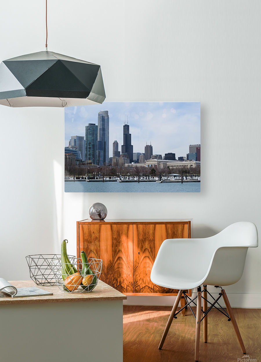 View of Chicago From Northerly Island VP2  HD Metal print with Floating Frame on Back