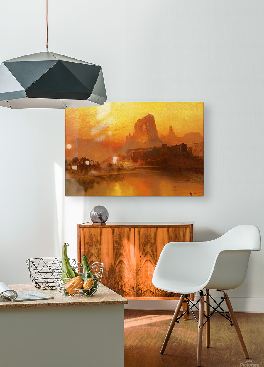 The golden hour  HD Metal print with Floating Frame on Back