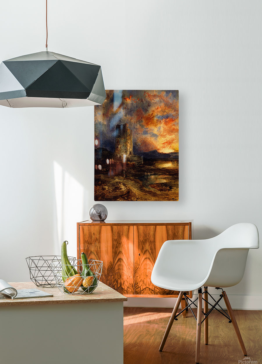 1880 Sunset on the Moor  HD Metal print with Floating Frame on Back