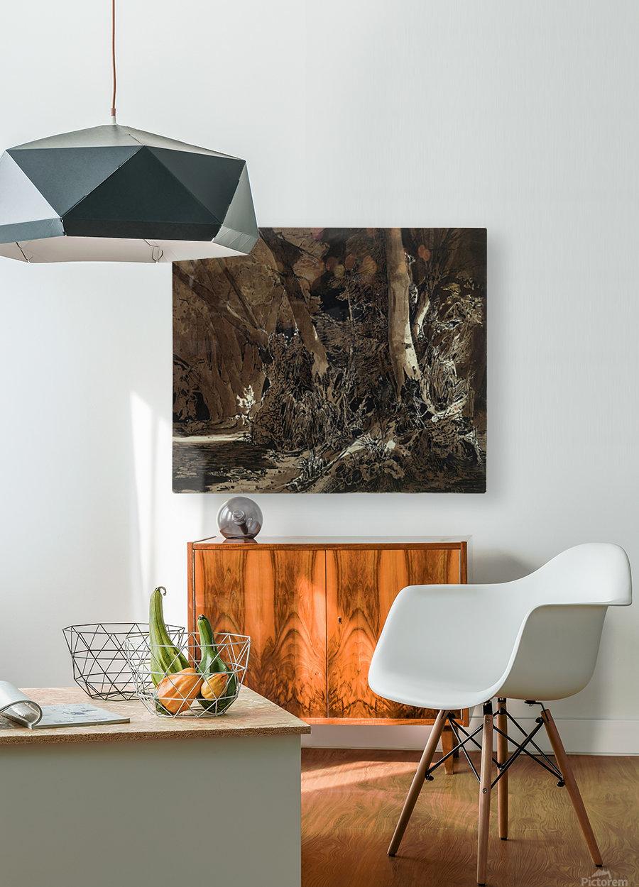Forest landscape with flowing water and two hunters  Impression métal HD avec cadre flottant sur le dos