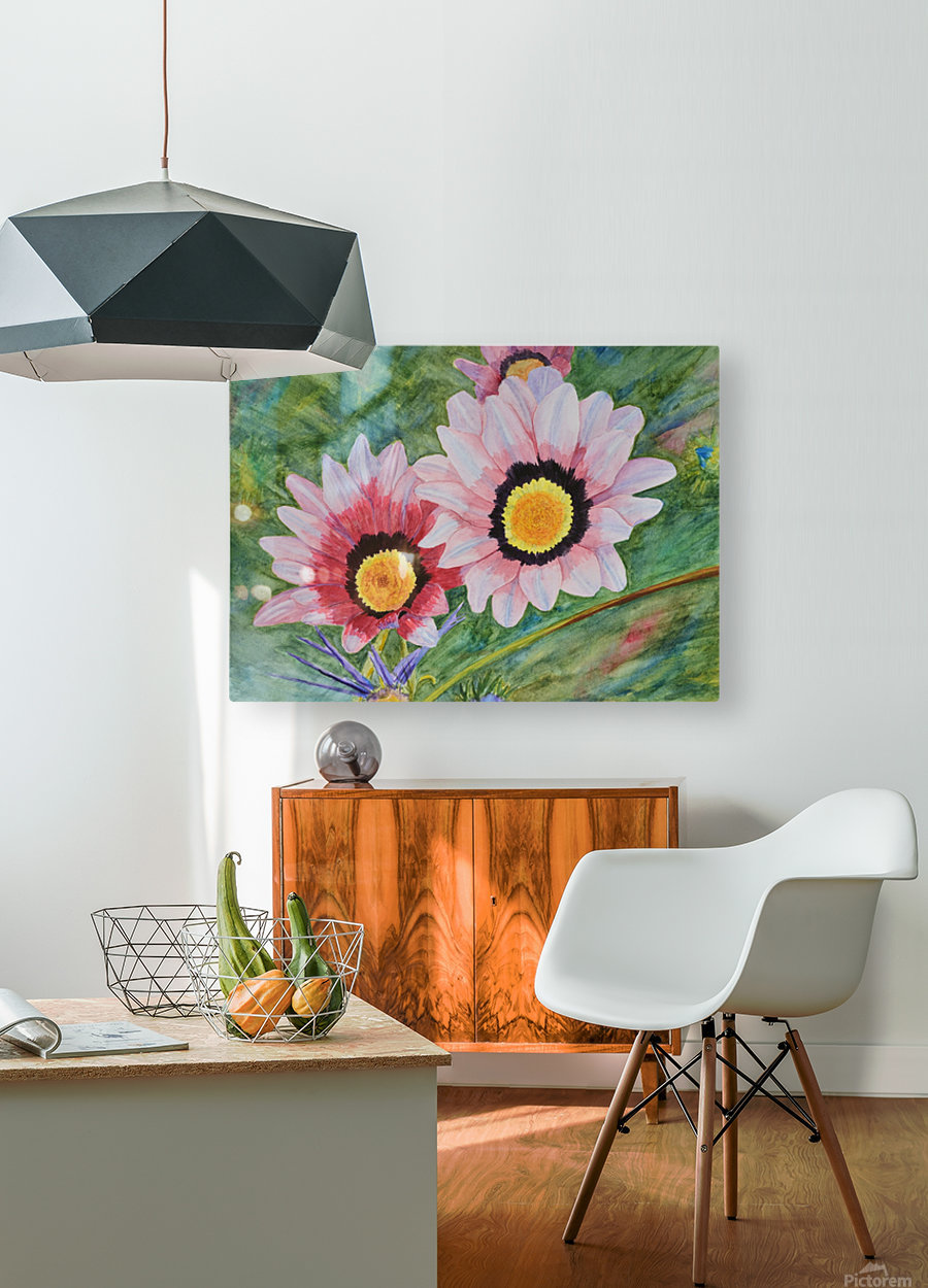 Two Daisies  HD Metal print with Floating Frame on Back