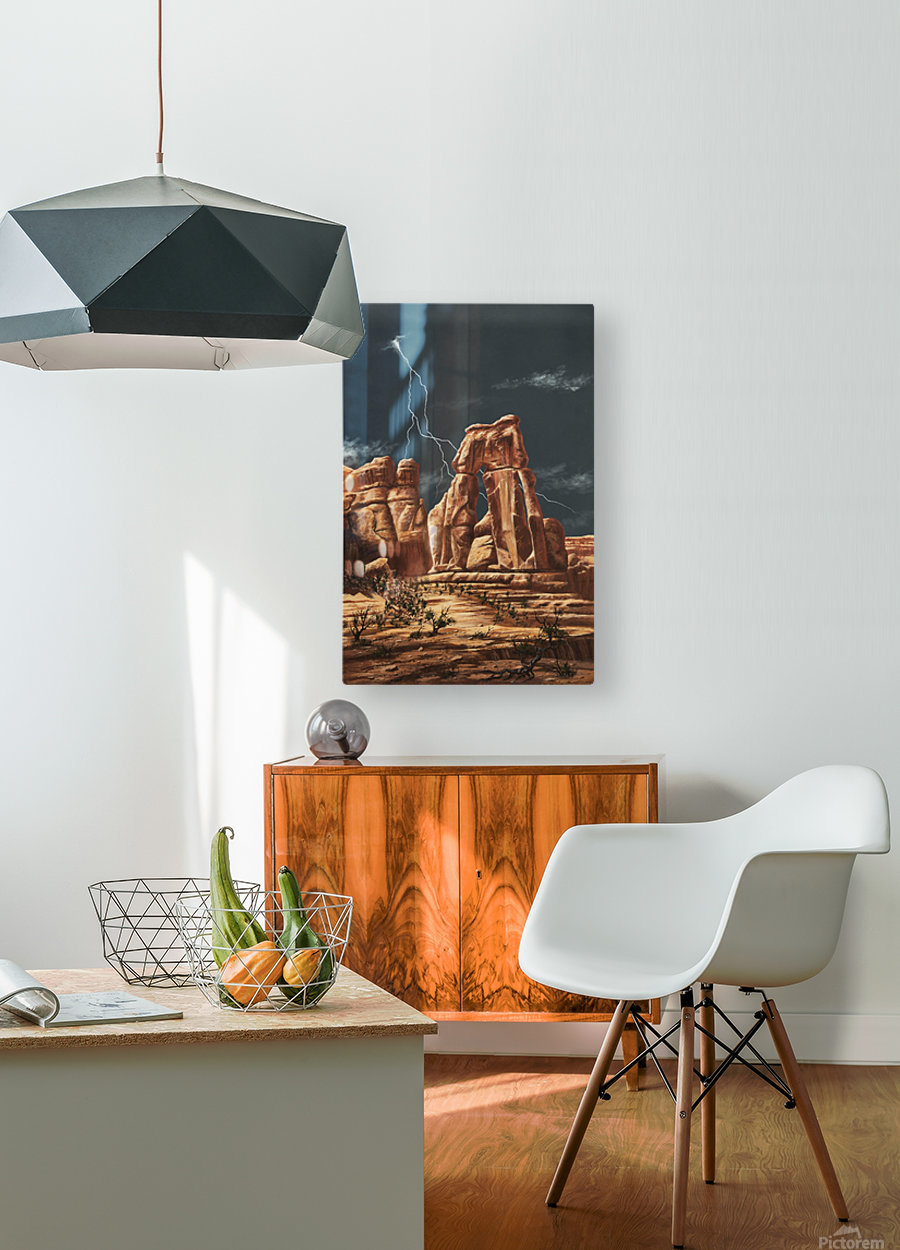 Storm over Druid Arch  HD Metal print with Floating Frame on Back