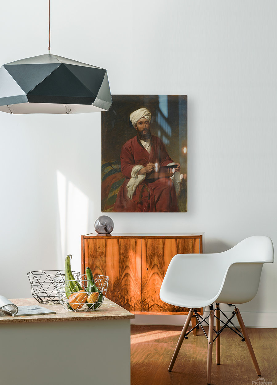 An Oriental man writing  HD Metal print with Floating Frame on Back
