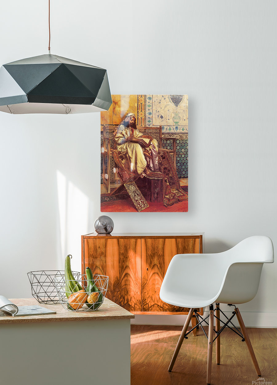 An Oriental man reading  HD Metal print with Floating Frame on Back