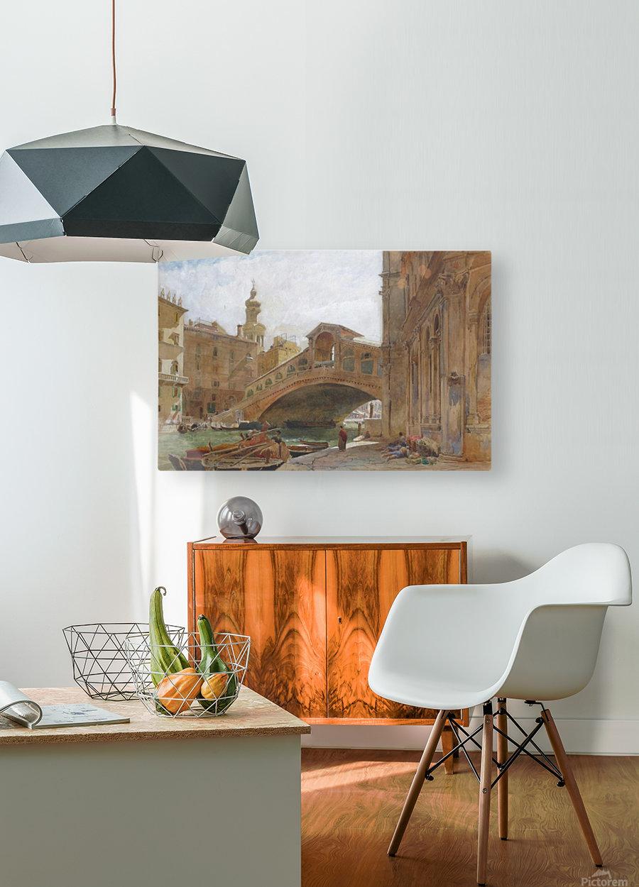Landscape near a bridge  HD Metal print with Floating Frame on Back