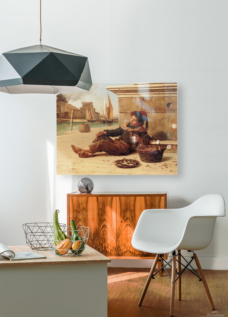 A young boy selling fish  HD Metal print with Floating Frame on Back